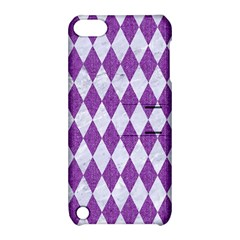 Diamond1 White Marble & Purple Denim Apple Ipod Touch 5 Hardshell Case With Stand