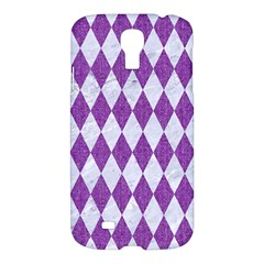 Diamond1 White Marble & Purple Denim Samsung Galaxy S4 I9500/i9505 Hardshell Case