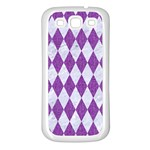 DIAMOND1 WHITE MARBLE & PURPLE DENIM Samsung Galaxy S3 Back Case (White) Front