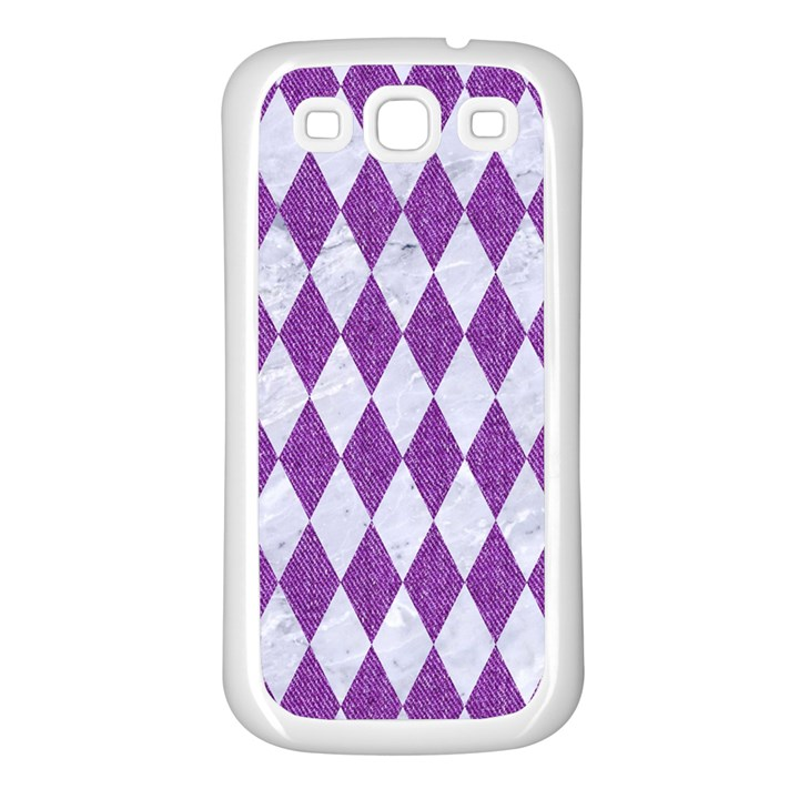 DIAMOND1 WHITE MARBLE & PURPLE DENIM Samsung Galaxy S3 Back Case (White)
