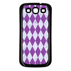 Diamond1 White Marble & Purple Denim Samsung Galaxy S3 Back Case (black)