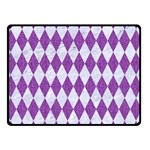 DIAMOND1 WHITE MARBLE & PURPLE DENIM Double Sided Fleece Blanket (Small)  45 x34 Blanket Front