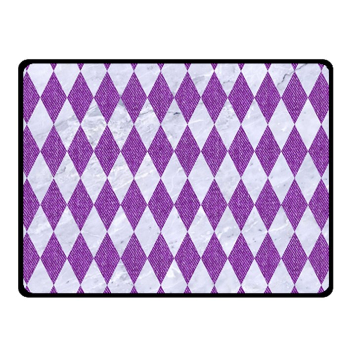 DIAMOND1 WHITE MARBLE & PURPLE DENIM Double Sided Fleece Blanket (Small)