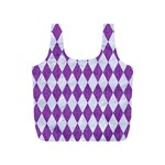 DIAMOND1 WHITE MARBLE & PURPLE DENIM Full Print Recycle Bags (S)  Back