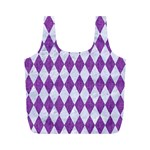 DIAMOND1 WHITE MARBLE & PURPLE DENIM Full Print Recycle Bags (M)  Front