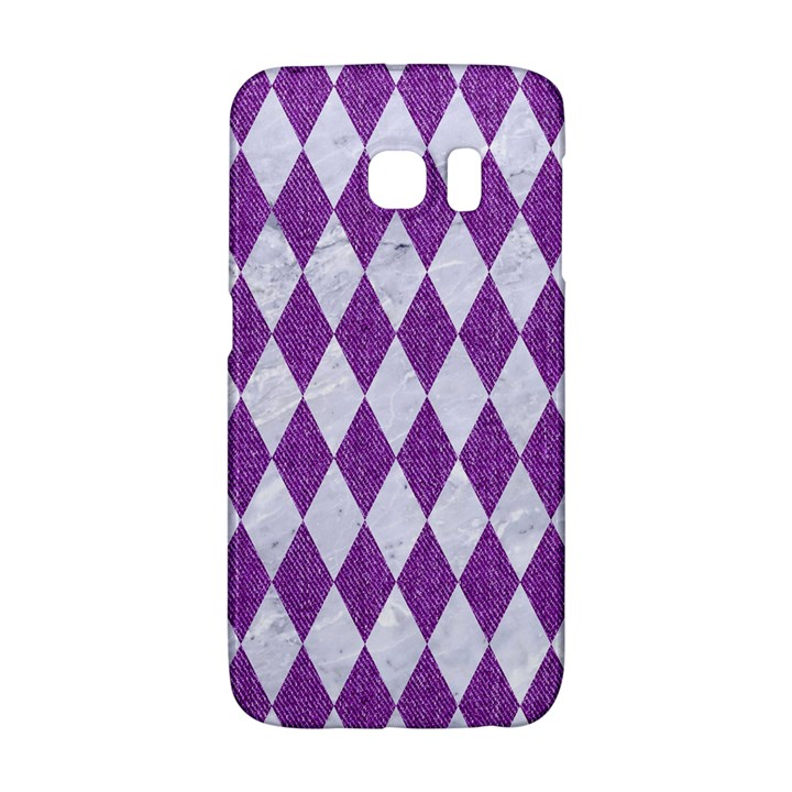 DIAMOND1 WHITE MARBLE & PURPLE DENIM Galaxy S6 Edge