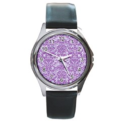 Damask2 White Marble & Purple Denim (r) Round Metal Watch by trendistuff