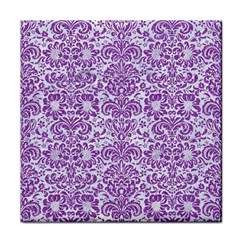 Damask2 White Marble & Purple Denim (r) Tile Coasters by trendistuff