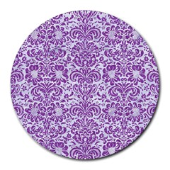 Damask2 White Marble & Purple Denim (r) Round Mousepads