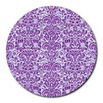 DAMASK2 WHITE MARBLE & PURPLE DENIM (R) Round Mousepads Front