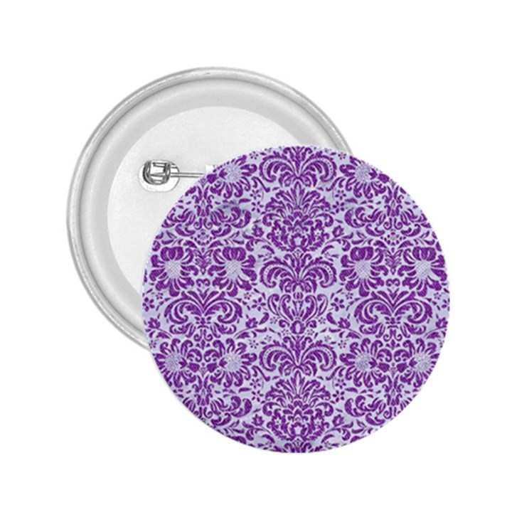 DAMASK2 WHITE MARBLE & PURPLE DENIM (R) 2.25  Buttons