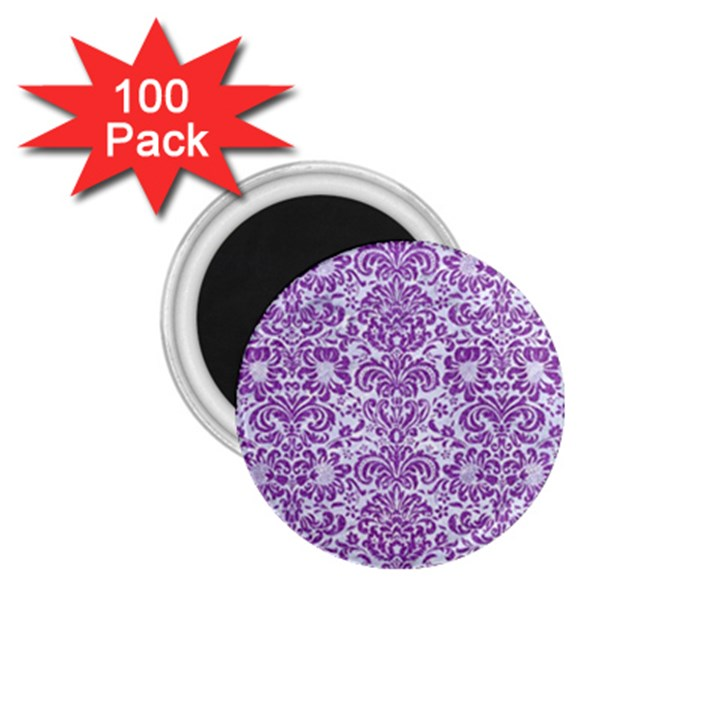 DAMASK2 WHITE MARBLE & PURPLE DENIM (R) 1.75  Magnets (100 pack)