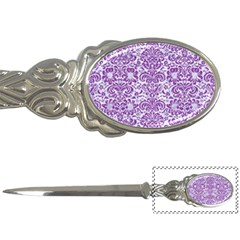 Damask2 White Marble & Purple Denim (r) Letter Openers