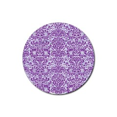 Damask2 White Marble & Purple Denim (r) Rubber Round Coaster (4 Pack)  by trendistuff