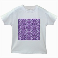 Damask2 White Marble & Purple Denim (r) Kids White T Shirts