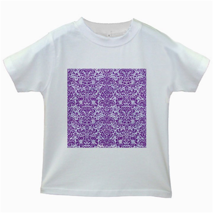DAMASK2 WHITE MARBLE & PURPLE DENIM (R) Kids White T-Shirts