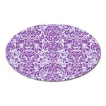 DAMASK2 WHITE MARBLE & PURPLE DENIM (R) Oval Magnet Front