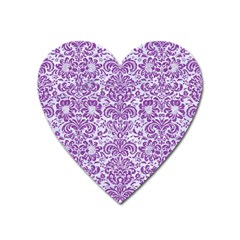 Damask2 White Marble & Purple Denim (r) Heart Magnet by trendistuff