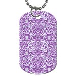 DAMASK2 WHITE MARBLE & PURPLE DENIM (R) Dog Tag (One Side) Front