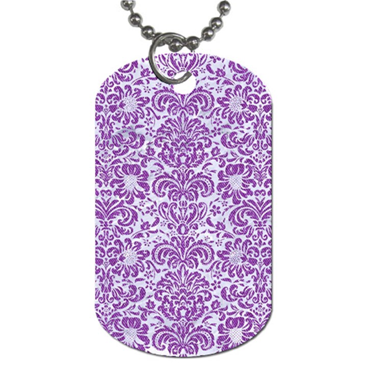 DAMASK2 WHITE MARBLE & PURPLE DENIM (R) Dog Tag (One Side)