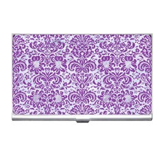 Damask2 White Marble & Purple Denim (r) Business Card Holders by trendistuff