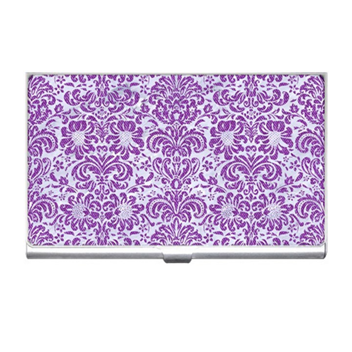 DAMASK2 WHITE MARBLE & PURPLE DENIM (R) Business Card Holders