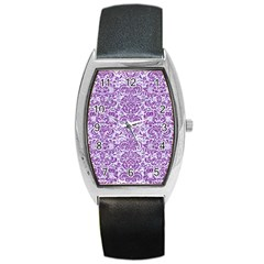Damask2 White Marble & Purple Denim (r) Barrel Style Metal Watch by trendistuff