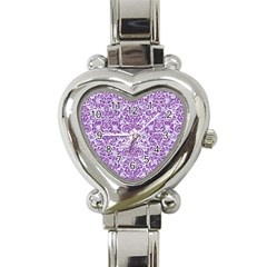 Damask2 White Marble & Purple Denim (r) Heart Italian Charm Watch by trendistuff
