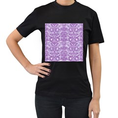 Damask2 White Marble & Purple Denim (r) Women s T Shirt (black) (two Sided)