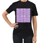 DAMASK2 WHITE MARBLE & PURPLE DENIM (R) Women s T-Shirt (Black) (Two Sided) Front