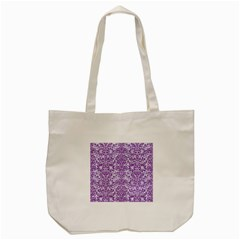 Damask2 White Marble & Purple Denim (r) Tote Bag (cream) by trendistuff