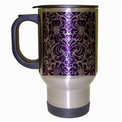 Damask2 White Marble & Purple Denim (r) Travel Mug (silver Gray) by trendistuff