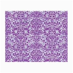 Damask2 White Marble & Purple Denim (r) Small Glasses Cloth by trendistuff