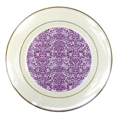 Damask2 White Marble & Purple Denim (r) Porcelain Plates by trendistuff