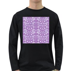 Damask2 White Marble & Purple Denim (r) Long Sleeve Dark T Shirts