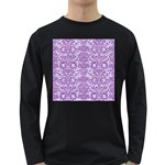 DAMASK2 WHITE MARBLE & PURPLE DENIM (R) Long Sleeve Dark T-Shirts Front