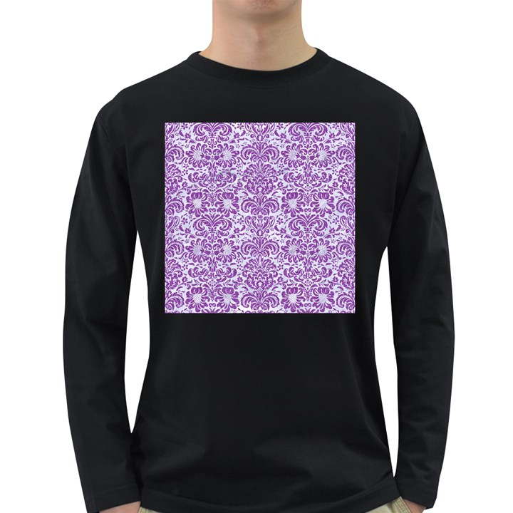 DAMASK2 WHITE MARBLE & PURPLE DENIM (R) Long Sleeve Dark T-Shirts