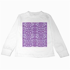 Damask2 White Marble & Purple Denim (r) Kids Long Sleeve T Shirts