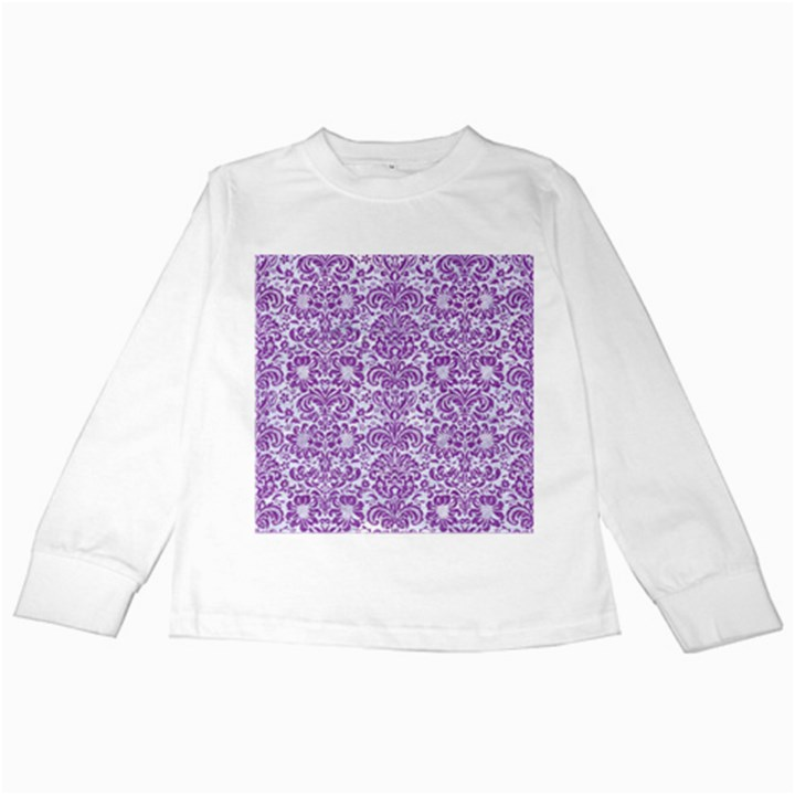 DAMASK2 WHITE MARBLE & PURPLE DENIM (R) Kids Long Sleeve T-Shirts