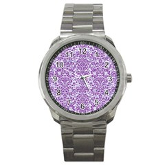 Damask2 White Marble & Purple Denim (r) Sport Metal Watch by trendistuff