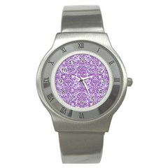 Damask2 White Marble & Purple Denim (r) Stainless Steel Watch by trendistuff