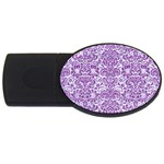 DAMASK2 WHITE MARBLE & PURPLE DENIM (R) USB Flash Drive Oval (4 GB) Front