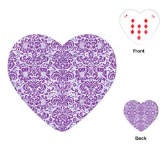 Damask2 White Marble & Purple Denim (r) Playing Cards (heart)  by trendistuff