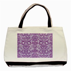 Damask2 White Marble & Purple Denim (r) Basic Tote Bag by trendistuff
