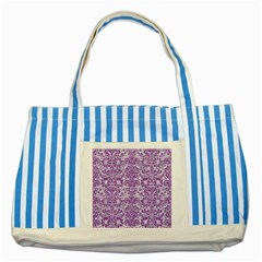 Damask2 White Marble & Purple Denim (r) Striped Blue Tote Bag by trendistuff