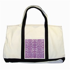 Damask2 White Marble & Purple Denim (r) Two Tone Tote Bag by trendistuff