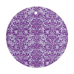 Damask2 White Marble & Purple Denim (r) Round Ornament (two Sides)