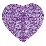 DAMASK2 WHITE MARBLE & PURPLE DENIM (R) Heart Ornament (Two Sides) Back