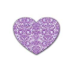 Damask2 White Marble & Purple Denim (r) Rubber Coaster (heart)  by trendistuff