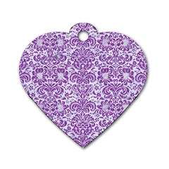 Damask2 White Marble & Purple Denim (r) Dog Tag Heart (one Side)